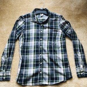 Jcrew Perfect Shirt Long Oxford Button Up Plaid S